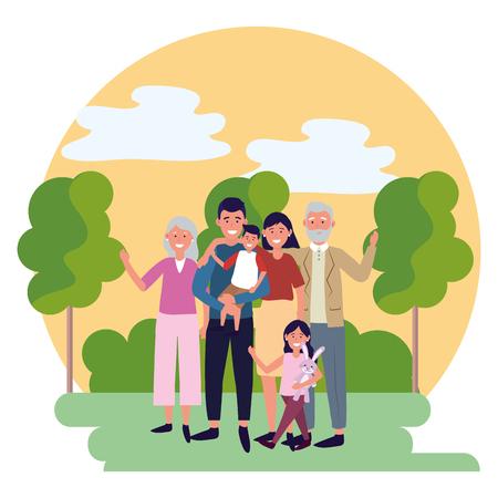 Familie Avatar Cartoon Charakter Park Landschaft Vektor Illustration Grafikdesign Vektorgrafik
