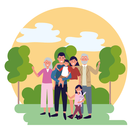 family avatar cartoon character park landscape vector illustration graphic design Vektorové ilustrace