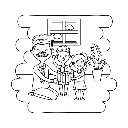 man with children icon cartoon moustache at home house black and white vector illustration graphic design