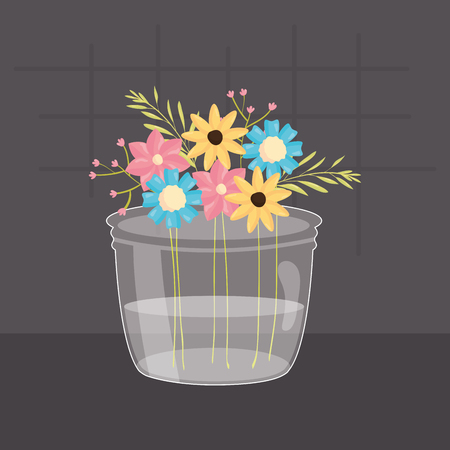 mason jar glass with floral decoration vector illustration design