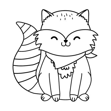 cute raccoon woodland character vector illustration design Foto de archivo - 123382054
