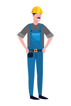 labor day job career construction architectural worker man cartoon vector illustration graphic design