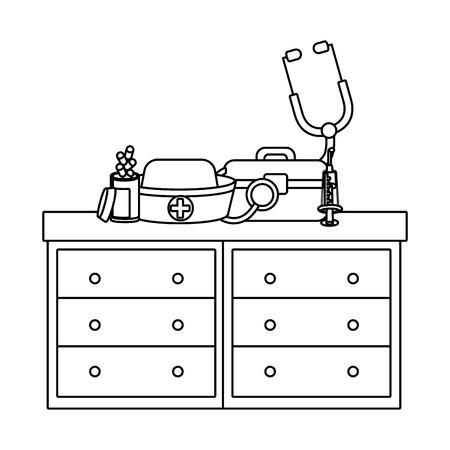 healthcare medical hospital elements cartoon vector illustration graphic design Illustration