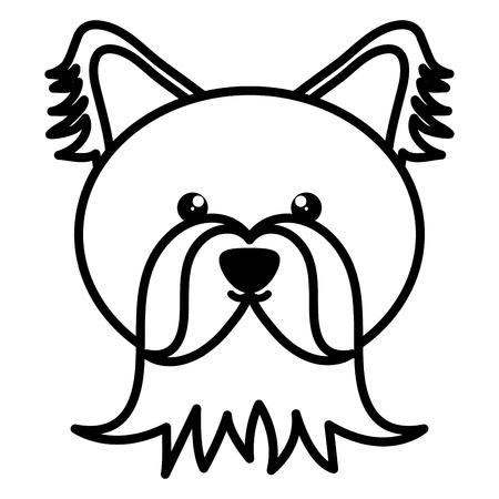 cute little dog head pet character