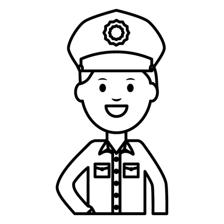 disegno dell'illustrazione di vettore del carattere dell'avatar dell'ufficiale di polizia