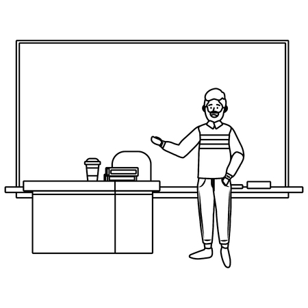 teacher having a class avatar cartoon character black and white vector illustration graphic design Çizim