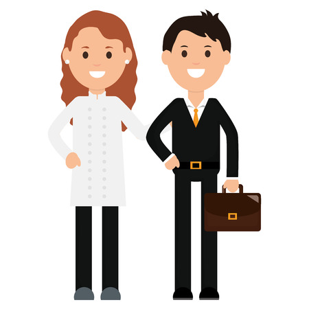 young businessman with female waiter vector illustration design Vectores