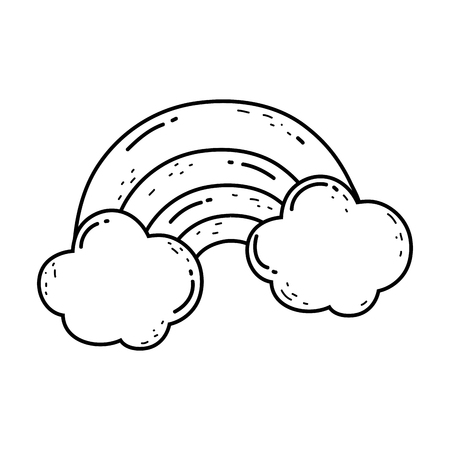 cute rainbow with clouds vector illustration design