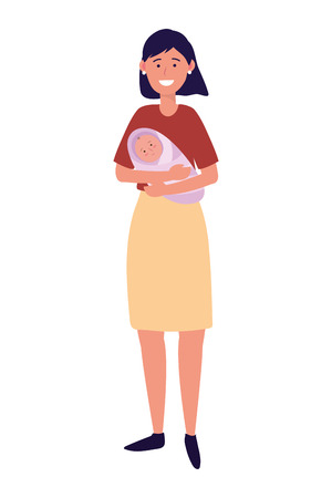 woman carrying baby avatar cartoon character vector illustration graphic design