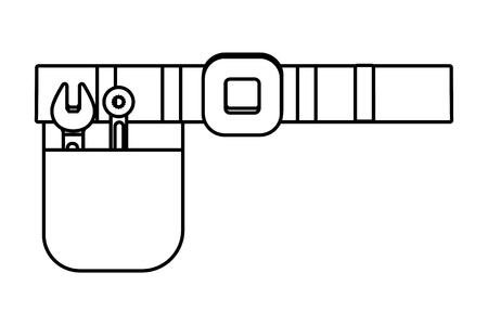 construction architectural tools belt cartoon vector illustration graphic design Vettoriali