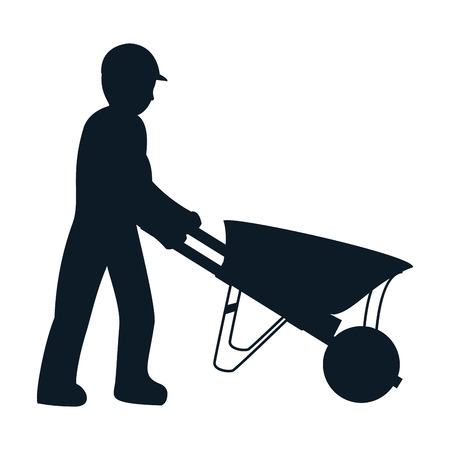 pictogram laborer with wheelbarrow equipment maintenance vector illustration