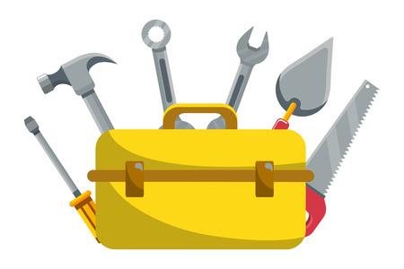 Bau architektonische Werkzeuge Box Cartoon-Vektor-Illustration-Grafik-Design