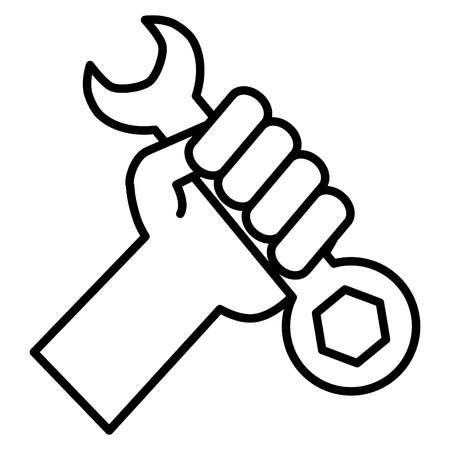 hand with wrench key tool vector illustration design Ilustrace