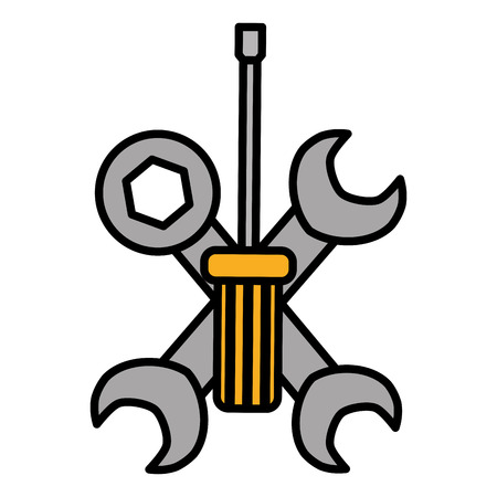 wrench keys tools crossed and screwdriver vector illustration design