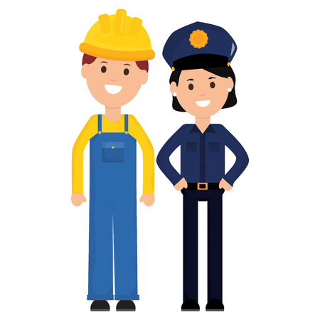 female police officer with builder vector illustration design Illustration