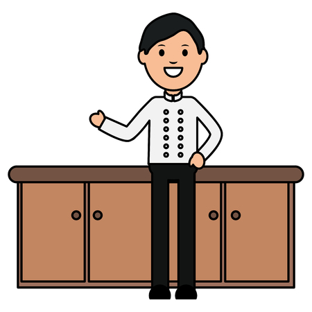 young waiter avatar character vector illustration design