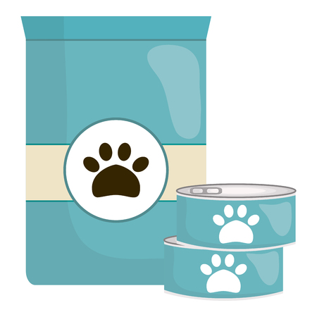 pet food bag and can vector illustration design Vectores