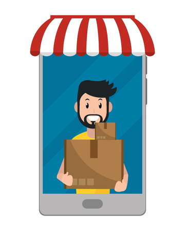 delivery guy carrying boxes going out cellphone vector illustration graphic design Ilustrace