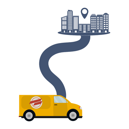 delivery van on a way to city with location symbol vector illustration graphic design