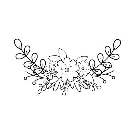 branch with leafs and flower vector illustration design Illustration