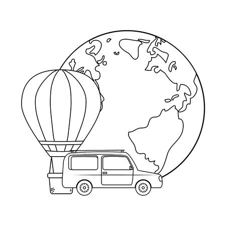 balloon air hot flying with car and world planet vector illustration design