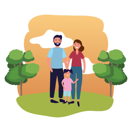 couple with child avatar cartoon character outdoor in the park vector illustration graphic design