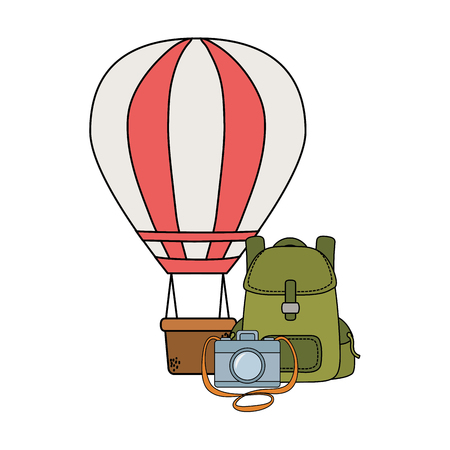balloon air hot flying with travelbag and camera vector illustration design