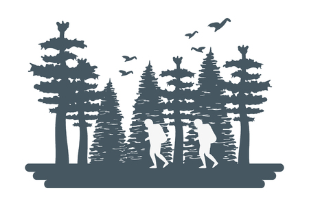 outdoor camping forest trees with skiers cartoon vector illustration graphic design