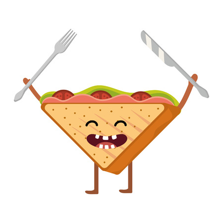 delicious tasty kawaii sandwich holding fork and knife cartoon vector illustration graphic design
