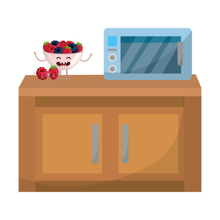 delicious tasty kawaii fruits grapes with strawberry at kitchen cartoon vector illustration graphic design