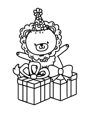 cute little animal lion at birthday party festive scene cartoon vector illustration graphic design Vectores