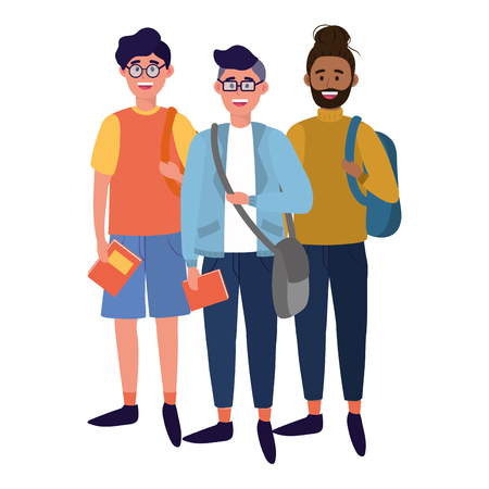young people friends men enjoying cartoon vector illustration graphic design