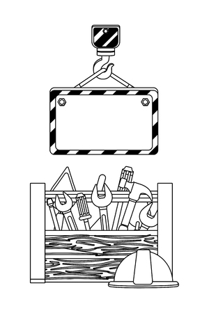 construction architectural tools box under hook cartoon vector illustration graphic design