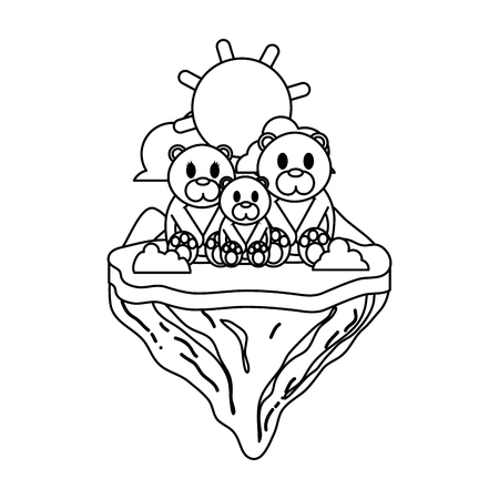 line family bear animal in float island vector illustration