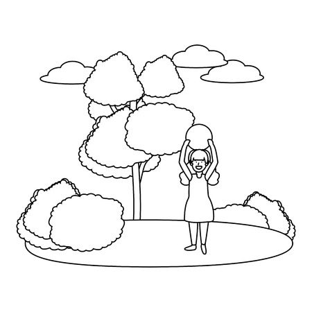 child girls avatar cartoon character outdoor in the park with ball black and white vector illustration graphic design Illustration