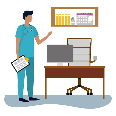 healthcare medical doctor man holding clinic record at doctors office cartoon vector illustration graphic design