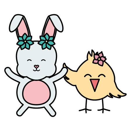 little chick and rabbit easter characters vector illustration design Illustration
