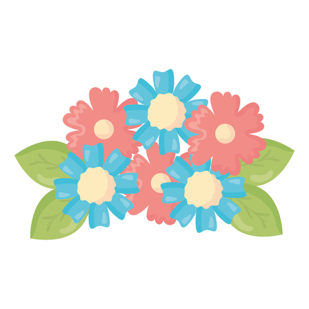 flowers and leafs decoration vector illustration design Illustration