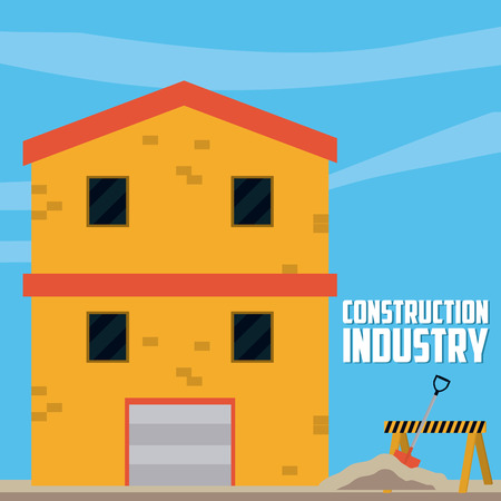 Construction industry with house and tools vector illustration graphic design