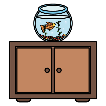 fish pet in aquarium over drawer vector illustration design