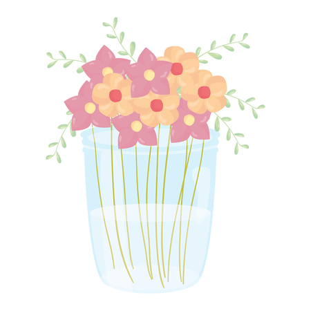 mason jar glass with floral decoration vector illustration design Çizim