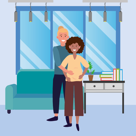 pregnant couple avatar cartoon character indoor in the house vector illustration graphic design