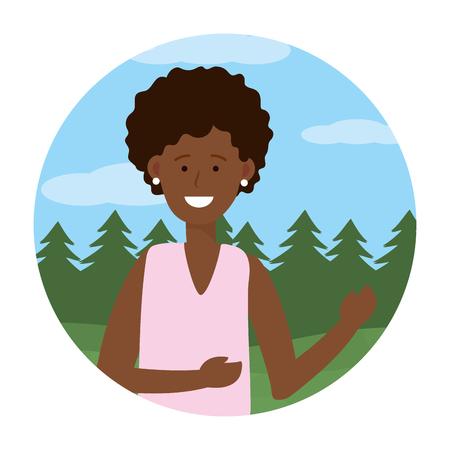 woman portrait avatar cartoon character ponytail outdoor rural landscape round icon vector illustration graphic design