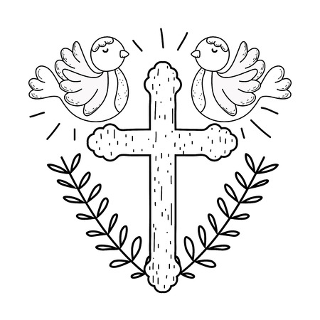 cute doves birds with cross Banque d'images - 121119251
