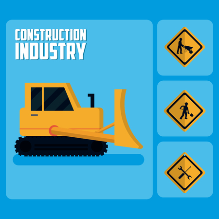Set of construction roadsign icons Illustration