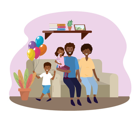 woman and man with daughter and son in the sofa vector illustration