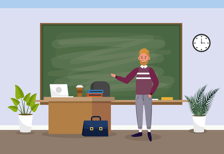 man teacher with laptop education in the classroom vector illustration