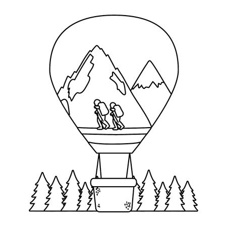 outdoor camping hot air balloon flying scene cartoon vector illustration graphic design  イラスト・ベクター素材
