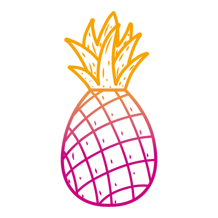 degraded line delicious pineapple fresh fruit nutrition vector illustration