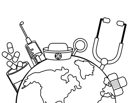 healthcare medical hospital supplies world map icon cartoon vector illustration graphic design Ilustração Vetorial